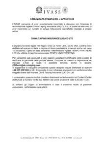 IVASS - COMUNICATO STAMPA DEL 4 APRILE 2016